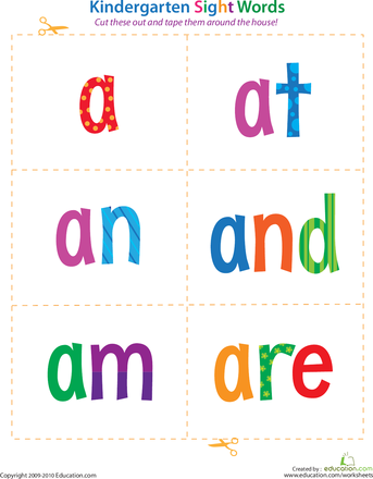 Kindergarten Sight Words Flash Cards | Education.com