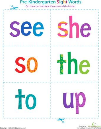 Preschool Reading Flash Cards Worksheets & Free Printables ...