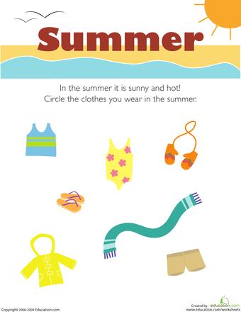 Free Worksheets worksheets preschool : Getting Dressed: Preschool Seasons Worksheets | Education.com