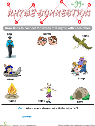 Learning to Read with Rhymes - Preschool Worksheets | Education.com