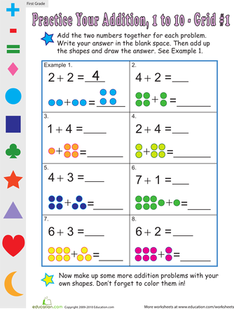single digit addition worksheets for st grade  education, coloring pages