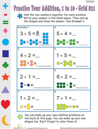 Single Digit Addition: Worksheets for 1st Grade | Education.com