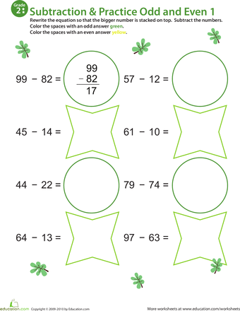 Practice Subtraction & Odd/Even - 2nd Grade Worksheets | Education.com