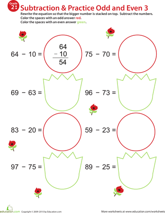 Practice Subtraction & Odd/Even - 2nd Grade Worksheets   Education.com
