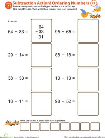 Subtraction Worksheets jungle subtraction worksheets : Subtraction Action! 2nd Grade Ordering Numbers Worksheets ...