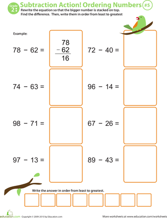Subtraction Action! 2nd Grade Ordering Numbers Worksheets ...