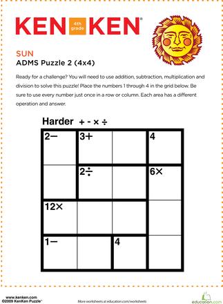 KenKen Puzzles for 4th Graders | Education.com