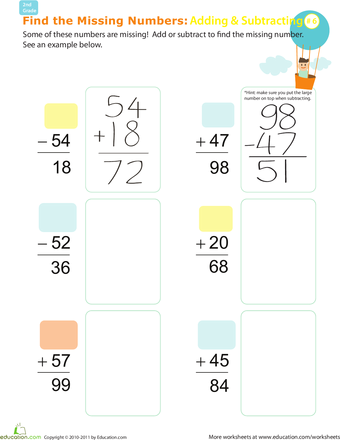 Find the Missing Numbers: Reverse Addition & Subtraction ...