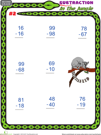 Subtraction Worksheets jungle subtraction worksheets : Subtraction in the Jungle | Education.com