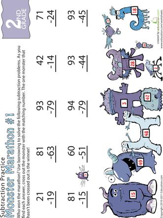 Subtraction Worksheets jungle subtraction worksheets Monster Marathon: Two-Digit Subtraction | Education.com