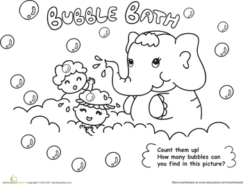 Worksheets Hygiene Worksheets good clean fun 6 hygiene worksheets education com bath time color the elephant bubble bath