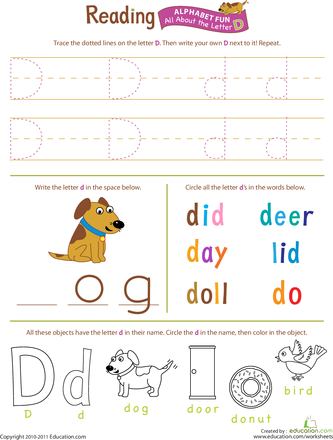Printables Education.com Worksheet alphabet worksheet set letters a z education com get ready for reading all about the letter d