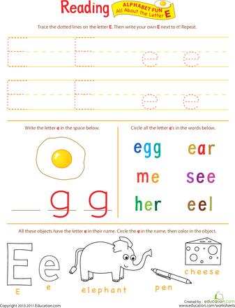 Preschool Reading Worksheets & Free Printables | Education.com
