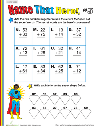 Name That Hero! Two-Digit Addition Worksheets | Education.com