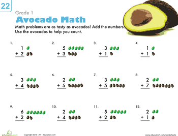Printables Basic Addition Worksheets basic addition worksheets for 1st grade education com avocado math