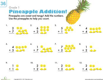 Basic Addition Worksheets for 1st Grade   Education.com