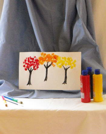 Preschool Reading & Writing Activities: Autumn Tree Paintings