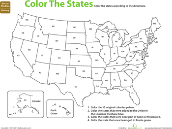 Worksheets 50 States Worksheet studying state capitals worksheets 5th grade education com map the states color by history
