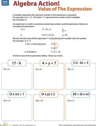 Printables Algebraic Expressions Worksheets 5th Grade algebra and geometry challenges for 5th grade education com the basics of value expression