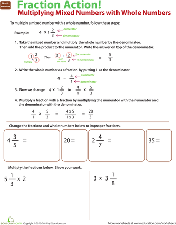 Worksheets Multiplying Fractions And Mixed Numbers Worksheet multiplying fractions and mixed numbers education com multiply with whole numbers