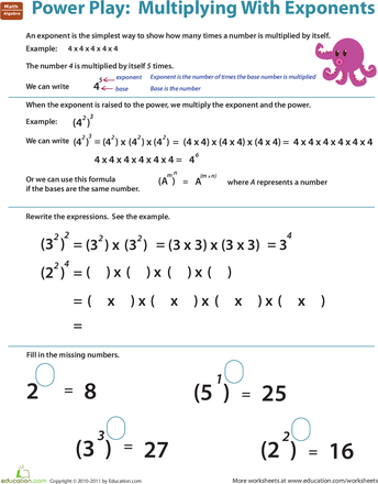 Worksheets Exponents Worksheets For 5th Grade exponent multiplication worksheet worksheets by 5th grade math practice review education com worksheet