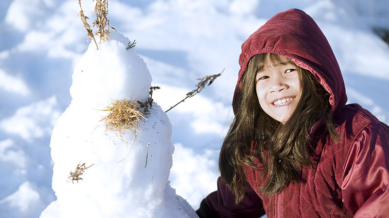 Fun and educational activities with snow