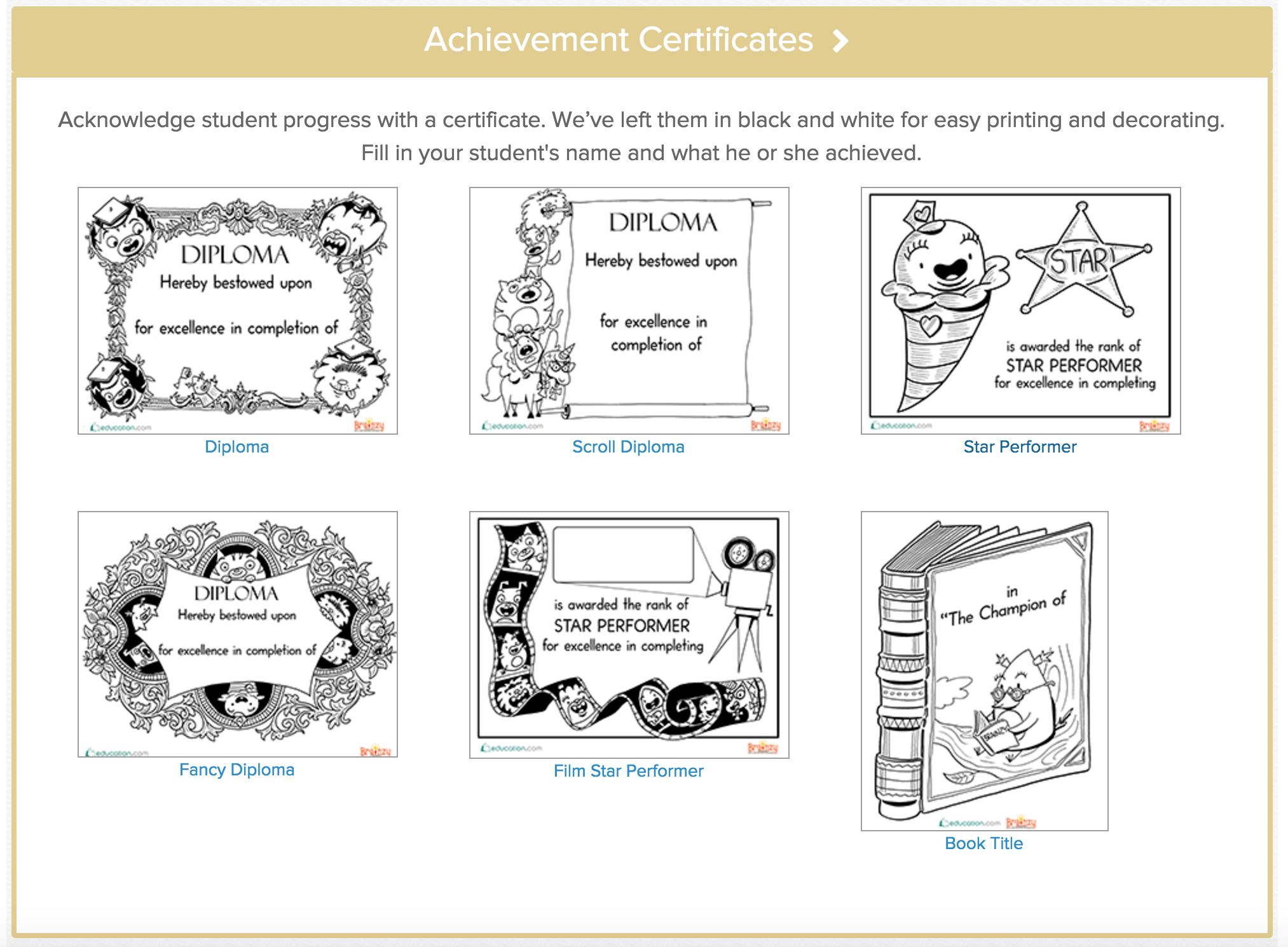 Certificates Starring Brainzy Characters + You!