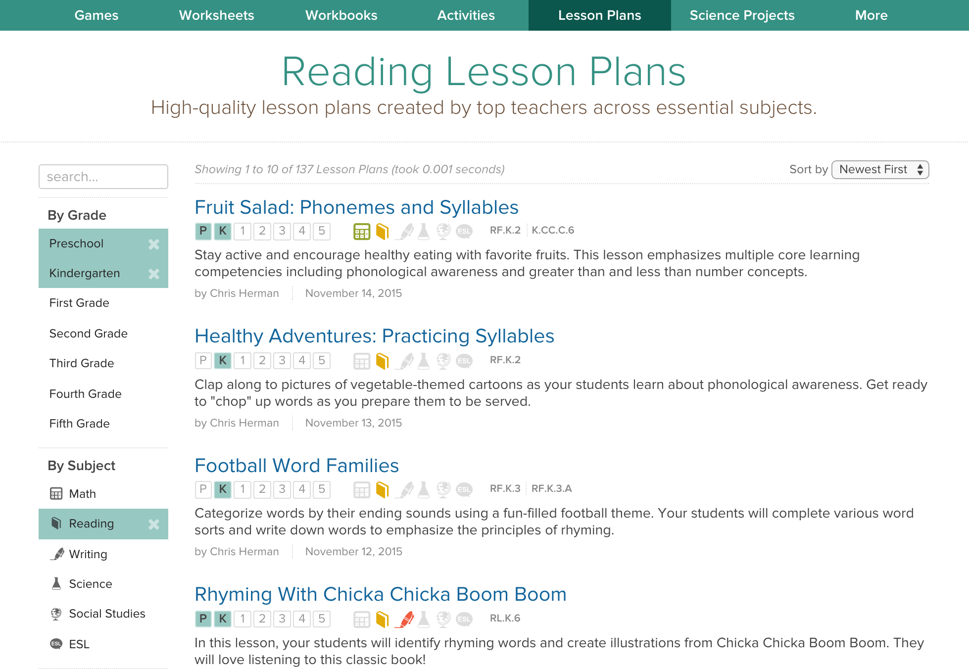 New Lesson Plans Pages