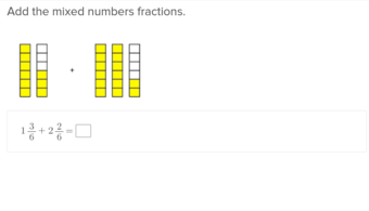 4th grade Math Exercises: Adding Mixed Fractions with Like Denominators