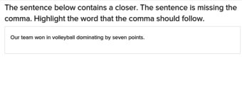 5th grade Reading & Writing Exercises: Comma Before Closer 2
