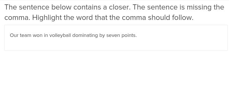 Comma Before Closer 2