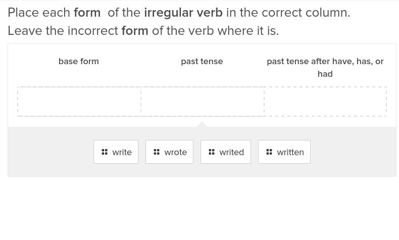 5th grade Reading & Writing Exercises: Irregular Verbs 3
