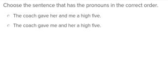 3rd grade Reading & Writing Exercises: Pronoun Order