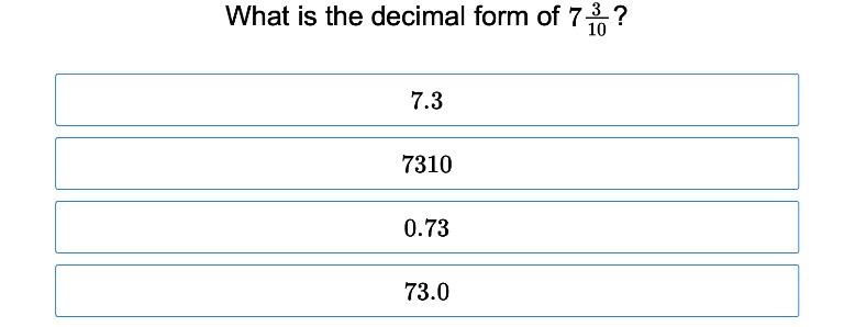 4th grade Math Exercises: Decimal Fractions 1