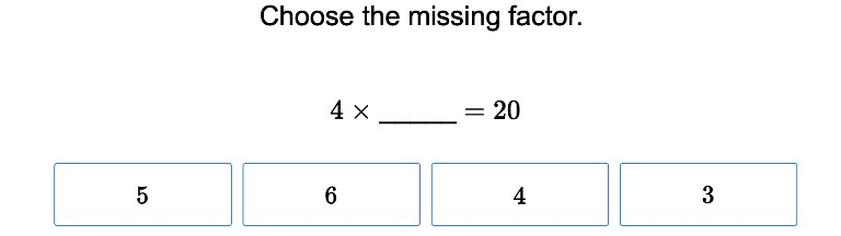 3rd grade Math Exercises: One Digit Multiplication with Missing Factors
