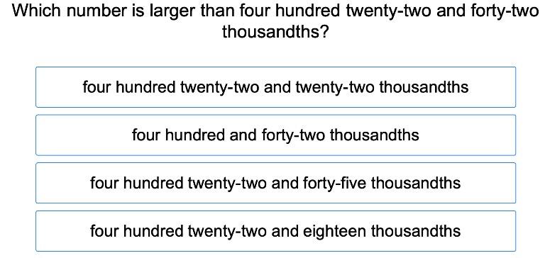 5th grade Math Exercises: Ordering Decimal Numbers 2