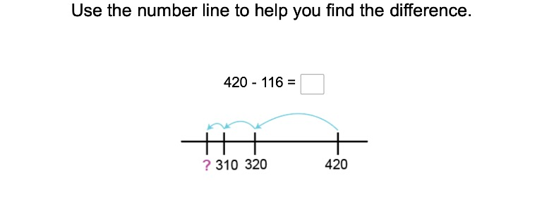 3rd grade Math Exercises: Three-Digit Subtraction on a Number Line