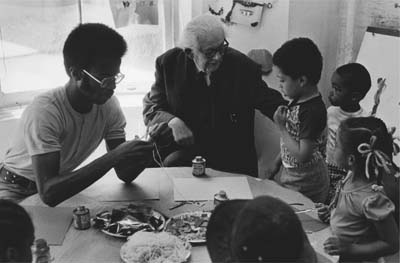 Jean Piaget in a classroom.