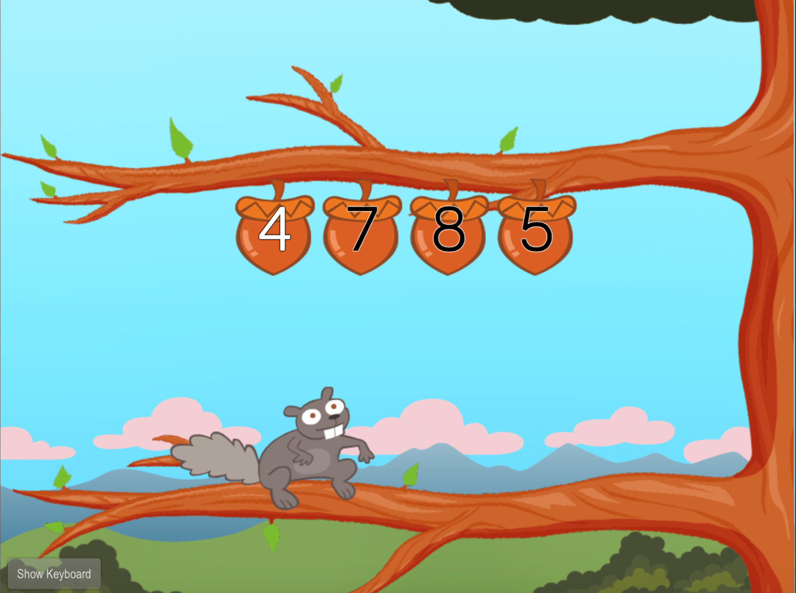 1st grade Typing Games: Typing Numbers: All Numbers with Squirrel