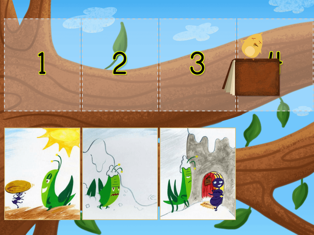 Kindergarten Reading & Writing Games: Ant and Grasshopper: Story Ordering