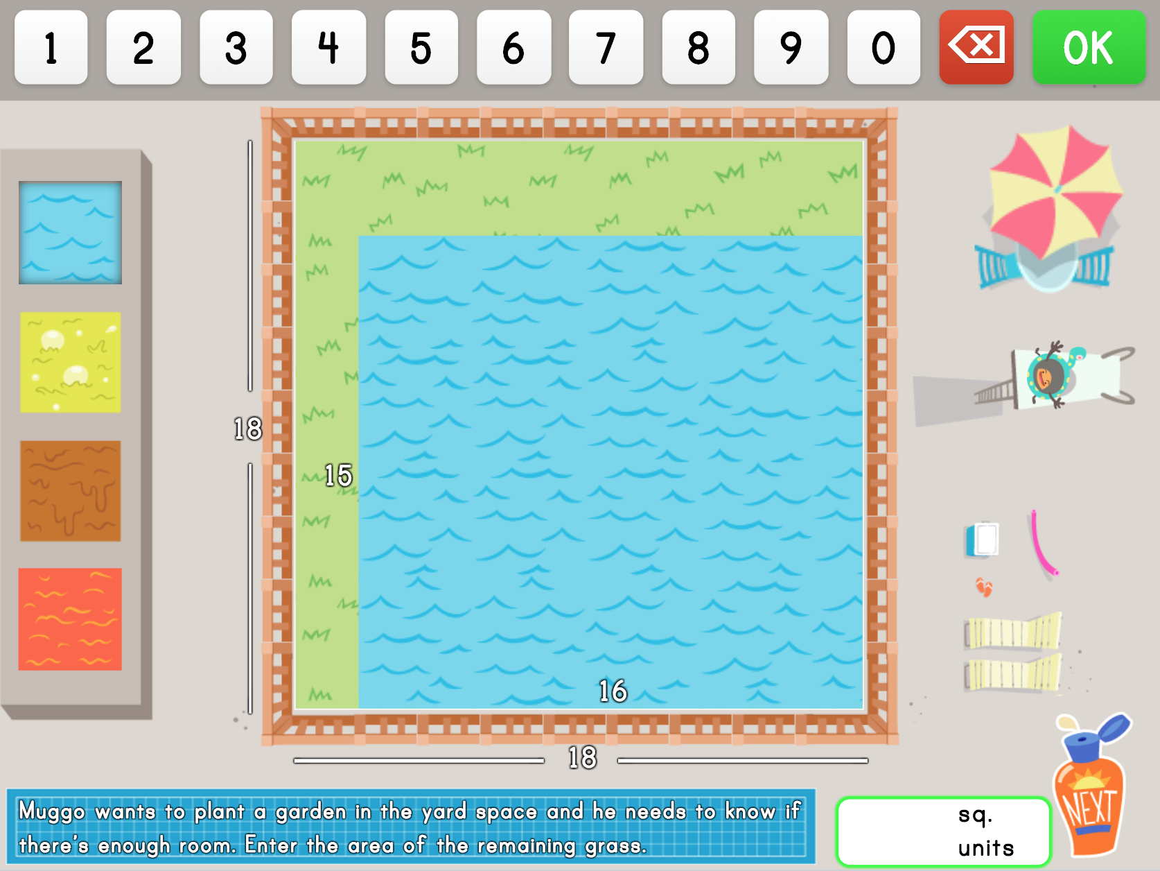 5th grade Math Games: Build a Pool: Area Models and Multiplication Word Problems