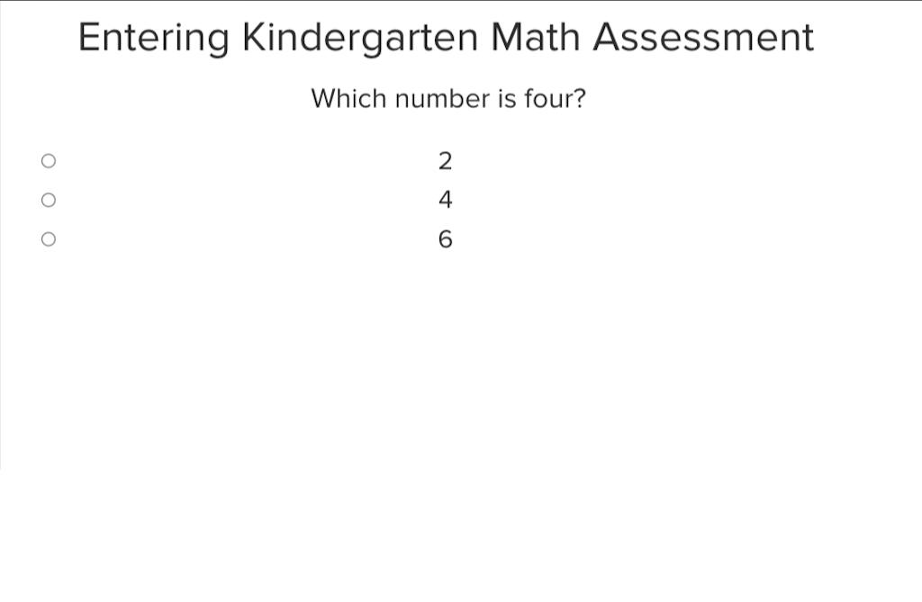 preschool Math Exercises: Assessment: Entering Kindergarten Math