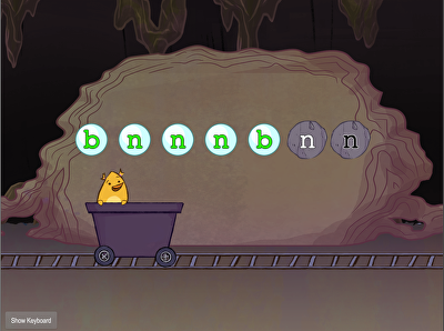 Bottom Row Typing: B and N with Gem Miner