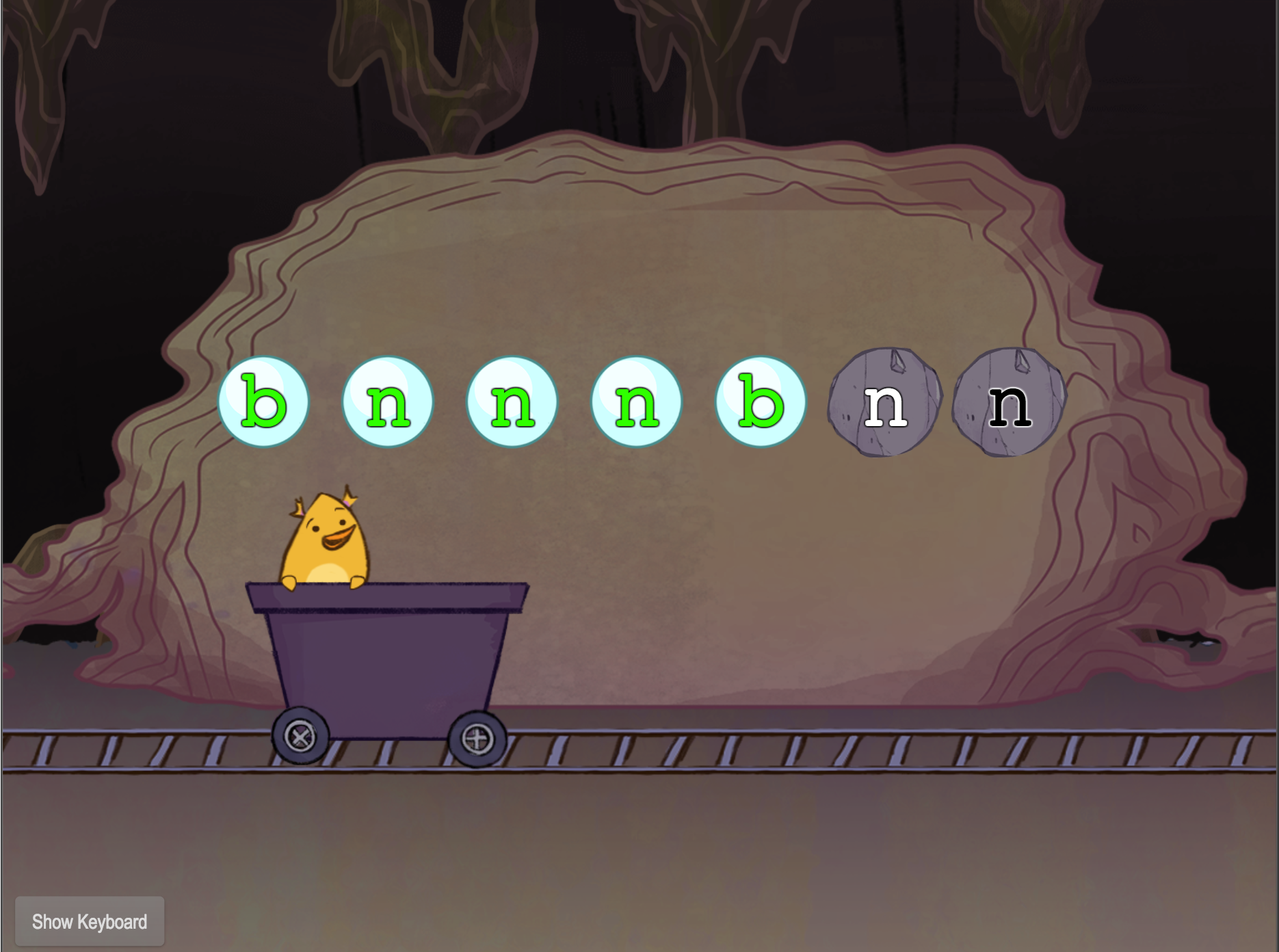 1st grade Typing Games: Bottom Row Typing: B and N with Gem Miner