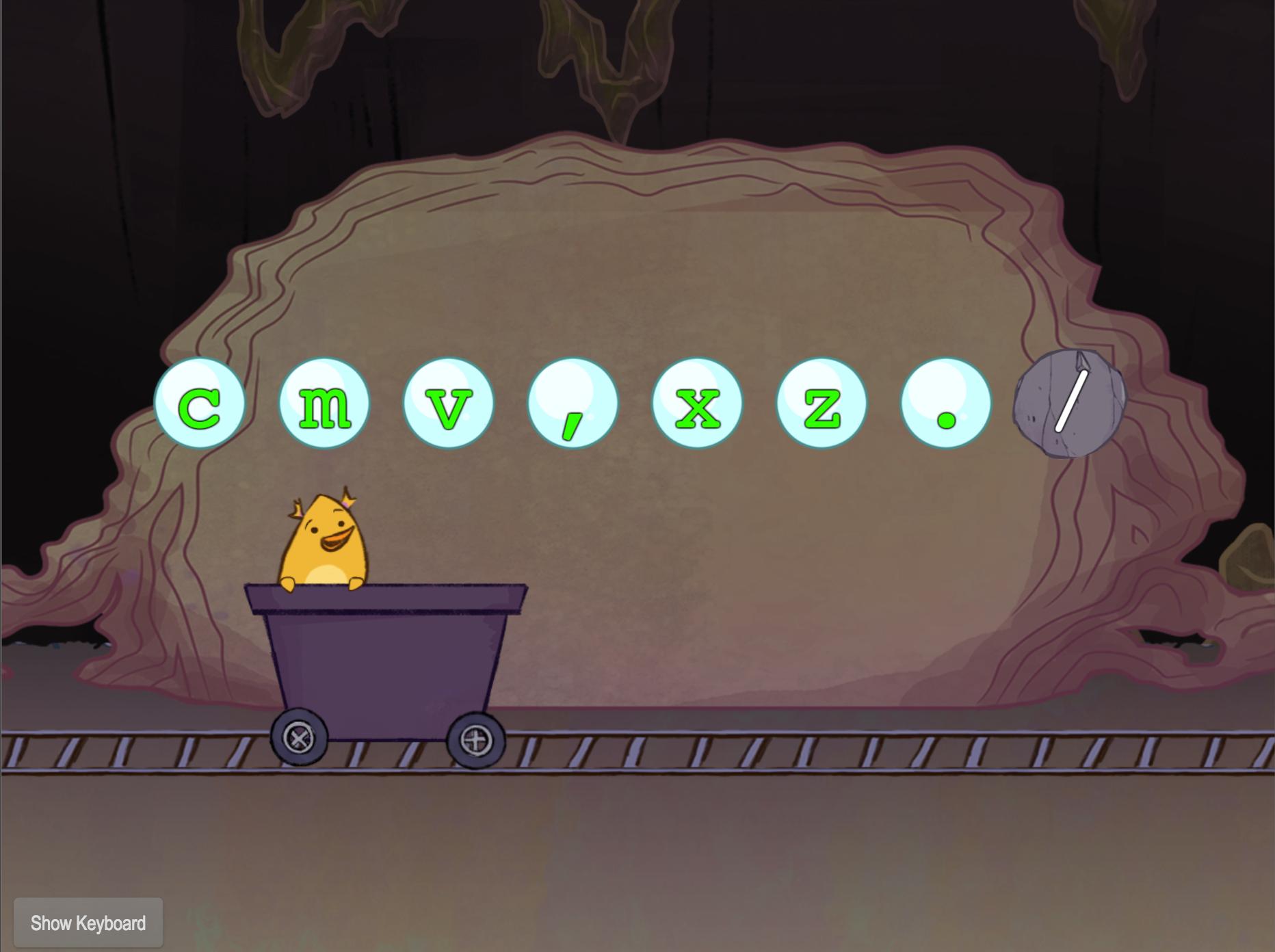 1st grade Typing Games: Bottom Row Typing: V-M-C-X-Z-Comma-Period-Slash with Gem Miner