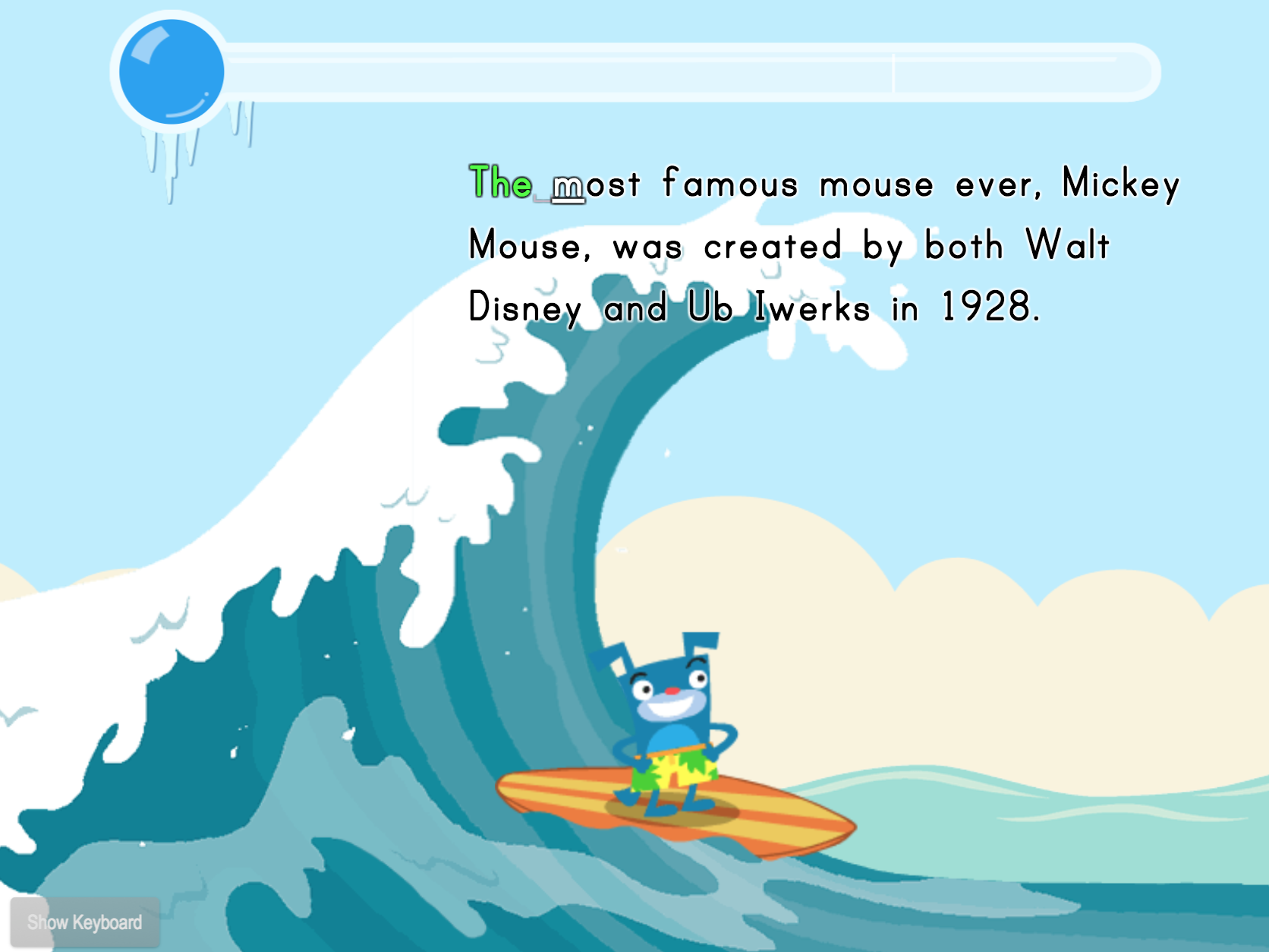 2nd grade Typing Games: Typing Sentences for Speed: Cartoon Trivia Surfing