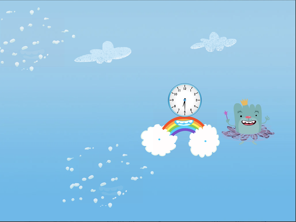 1st grade Math Games: Cloud Catcher: Telling Time to the Half-Hour