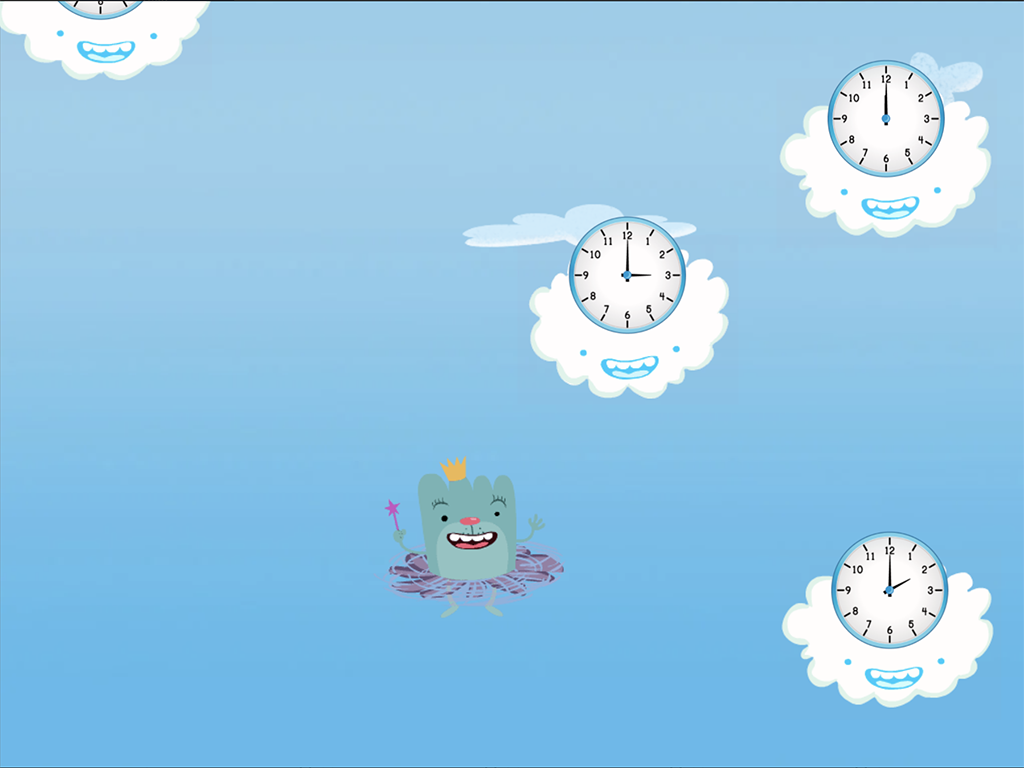 Kindergarten Math Games: Cloud Catcher: Telling Time to the Hour