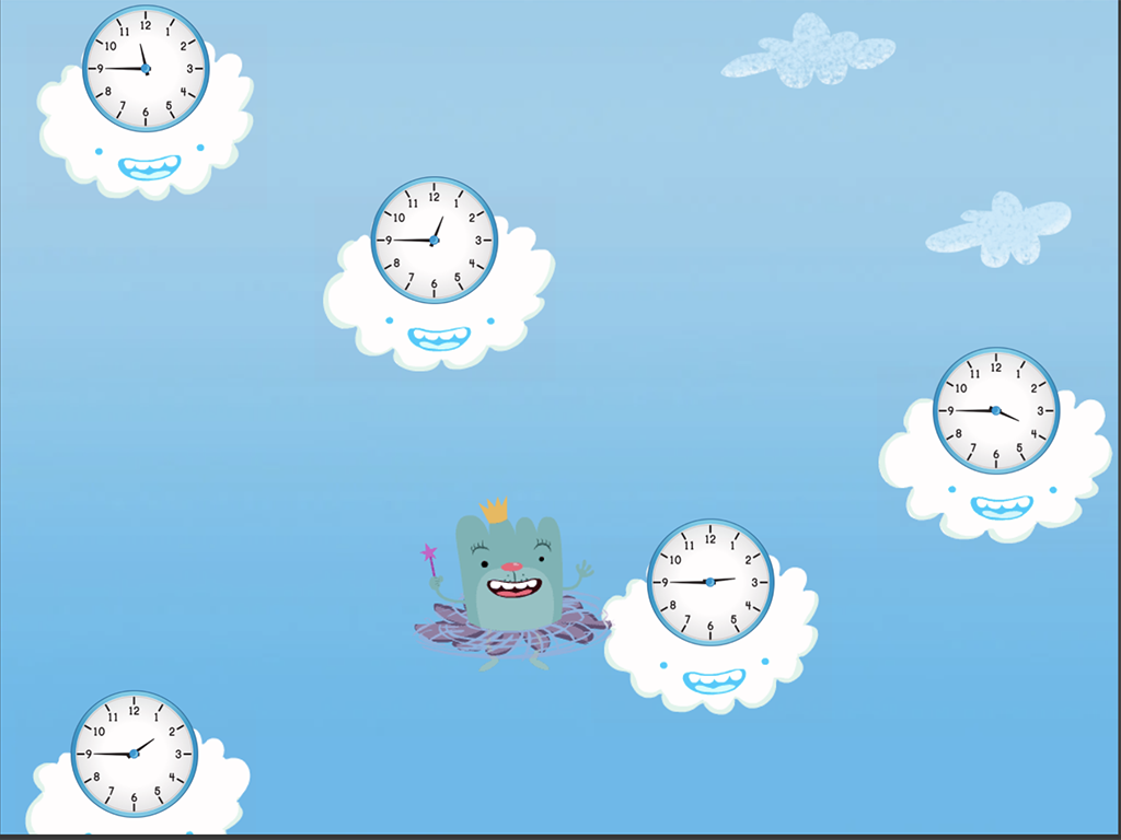 2nd grade Math Games: Cloud Catcher: Telling Time to the Quarter-Hour