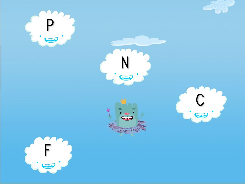 Preschool Reading & Writing Games: Alphabet Cloud Catcher: C, N, P, W